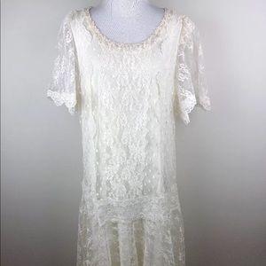 Roaman's Ivory Lace Dress Sz L Wedding Formal